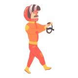 Homem do motorista de corridas de carros em um uniforme e em um capacete alaranjados que guardam o volante, competindo a ilustraç Imagem de Stock