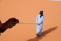 Homem do nómada que puxa o camelo através do calor de Sahara Fotografia de Stock Royalty Free
