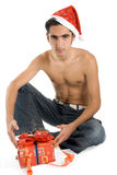 Homem do Natal com presente. Fotografia de Stock Royalty Free