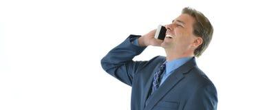 Homem do negócio ou das vendas no riso do telefone Foto de Stock Royalty Free