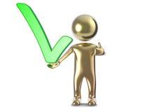 Homem do ouro 3d com uma marca de verificação verde Imagens de Stock