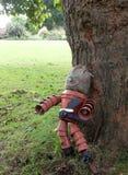 Homem do potenciômetro de flor que inclina-se contra uma árvore Imagem de Stock Royalty Free