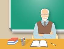 Homem do professor na ilustração lisa da educação da mesa ilustração do vetor