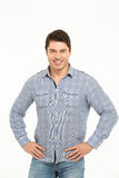 Homem do retrato na camisa azul Foto de Stock Royalty Free