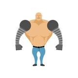 Homem do robô Homem Cybernetic com mãos mecânicas Artifici biônico Fotografia de Stock