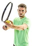 Homem do serviço do serviço do jogador de tênis isolado Fotografia de Stock