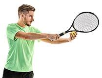 Homem do serviço do serviço do jogador de tênis isolado Imagem de Stock Royalty Free