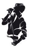 Homem do singin do vetor, silhueta Fotos de Stock Royalty Free
