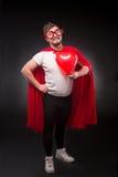 Homem do super-herói no amor Foto de Stock