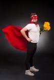 Homem do super-herói no amor Imagens de Stock Royalty Free