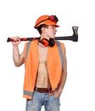 Homem do trabalhador com machado Imagem de Stock