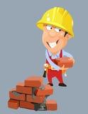 Homem do trabalhador do construtor dos desenhos animados em um capacete com tijolos Imagem de Stock