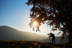 Homem do turista do caminhante com a c?mera no vale gram?neo no fundo da paisagem da montanha sob a ?rvore grande imagens de stock royalty free
