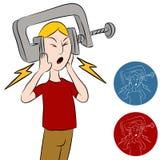Homem do vício da dor de cabeça Imagem de Stock Royalty Free