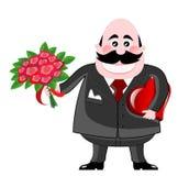 Homem do Valentim com rosas e chocolates ilustração stock