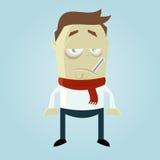 Homem doente dos desenhos animados Foto de Stock Royalty Free