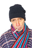 Homem doente no branco Fotografia de Stock Royalty Free