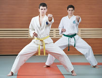 Homem dois em exercícios de taekwondo Fotografia de Stock