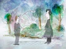 Homem dois pequeno engraçado no parque ilustração stock