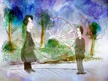 Homem dois pequeno engraçado no parque ilustração do vetor