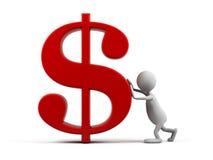 homem dos desenhos animados 3d com símbolo do dólar. Fotos de Stock Royalty Free