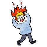 homem dos desenhos animados com cabelo no fogo Imagem de Stock Royalty Free
