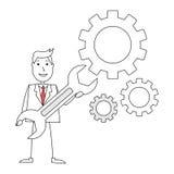 Homem dos desenhos animados com engrenagens e chave Foto de Stock Royalty Free