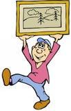 Homem dos desenhos animados com imagem quadro Fotografia de Stock