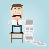 Homem dos desenhos animados com lista de tarefa longa Foto de Stock