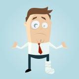 Homem dos desenhos animados com pé no emplastro Foto de Stock