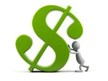 Homem dos desenhos animados com símbolo do dólar. Fotografia de Stock Royalty Free