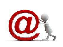 Homem dos desenhos animados com símbolo do email. Imagens de Stock