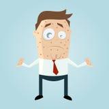 Homem dos desenhos animados com sarampo Fotografia de Stock Royalty Free