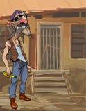 Homem dos desenhos animados com um bigode com uma garrafa perto de uma casa abandonada Fotografia de Stock