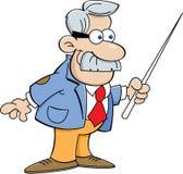 Homem dos desenhos animados com um ponteiro ilustração stock