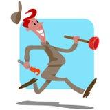 Homem dos desenhos animados do canalizador ilustração stock