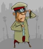 Homem dos desenhos animados em saudações ásperas de um uniforme Fotos de Stock Royalty Free