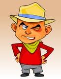 Homem dos desenhos animados em um chapéu que está com mãos nos quadris e que pisc slyly Imagens de Stock