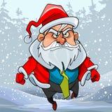 Homem dos desenhos animados em um traje de Papai Noel que corre através da floresta do inverno ilustração royalty free