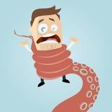 Homem dos desenhos animados entrelaçado pelo tentáculo do polvo Imagem de Stock