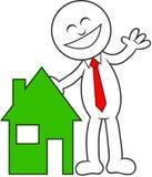 Homem dos desenhos animados feliz com casa Imagens de Stock Royalty Free
