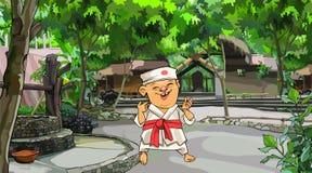 Homem dos desenhos animados na posição japonesa do quimono na jarda com árvores ilustração do vetor
