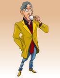 Homem dos desenhos animados na roupa elegante que está e que bebe uma xícara de café Imagem de Stock Royalty Free