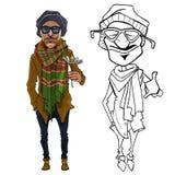 Homem dos desenhos animados na roupa morna com uma flor em sua mão Fotografia de Stock
