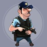 Homem dos desenhos animados no agente da polícia uniforme em um revestimento de oposição com uma arma em sua mão Imagem de Stock Royalty Free