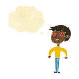 homem dos desenhos animados no amor com bolha do pensamento Foto de Stock