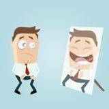 Homem dos desenhos animados no espelho Imagens de Stock Royalty Free