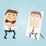 Homem dos desenhos animados no espelho Foto de Stock