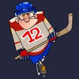 Homem dos desenhos animados no formulário do hóquei em patins com uma vara ilustração stock