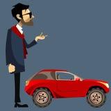Homem dos desenhos animados no terno ao lado de SUV vermelho pequeno Fotos de Stock